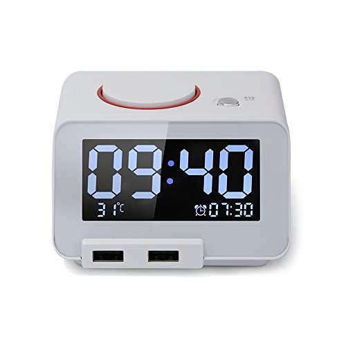 Digital Alarm Clock, Alarm Clock for Bedrooms,with Battery Backup and Snooze(White)