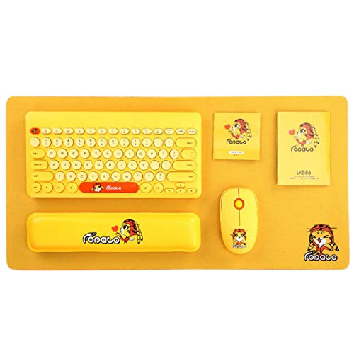 Anime Creative Gift Girl Cute 4 Piece Laptop Wireless Mouse And Keyboard Set-Yellow