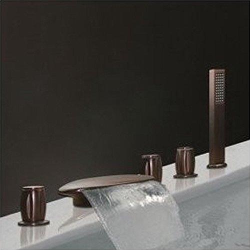 Wannenrandarmatur 5-Loch-Badewanne Wasserhahn Wasserfall Armatur Duschsystem Bad mit Handbrause Badewannenarmatur Retro Badarmatur,BlackBronzeFaucet