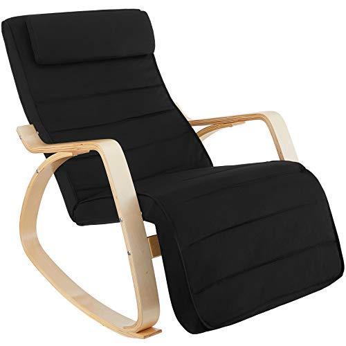 TecTake 800795 Fauteuil à Bascule Chaise Berçante Rocking Chair Repose-Pied Réglable en 5 Positions Bois Confortable – Diverses Couleurs (Noir)