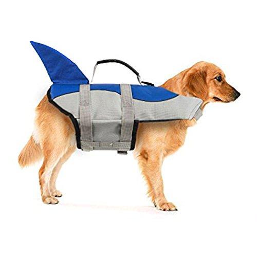 Xiaoyu Giubbotto di Salvataggio per Cani, Gilet Regolabile per Cani con salvagente per Animali Domestici, Giubbotto di Salvataggio novizio per Animali Domestici, Blu, L