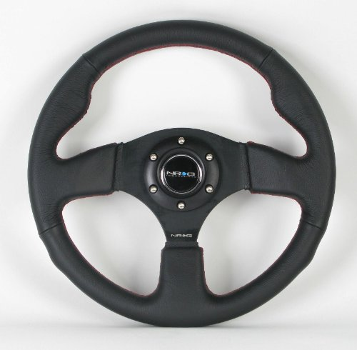 NRG Steering Wheel - 12 (Race) - 320mm (12.60 inches) - Black Leather/Black Spokes with Red Stitching - Part # ST-012R