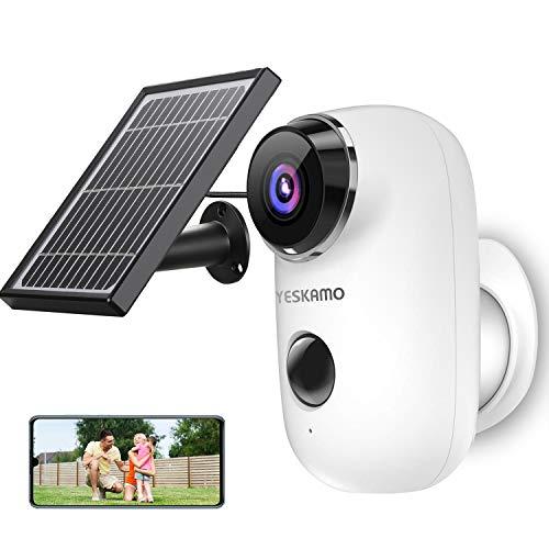 YESKAMO - Cámara de vigilancia con baterías para exterior e interior, inalámbrico, HD 1080P, cámara IP WiFi con panel solar, detección de movimiento, audio de 2 vías PIR, gran angular 130°