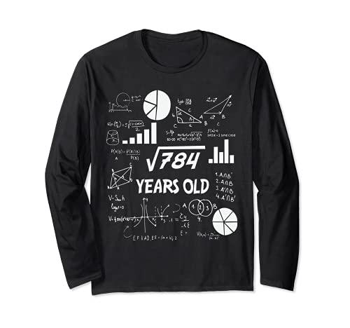 28° compleanno scienza radice quadrata matematica 28 anni Bday Nerd Maglia a Manica
