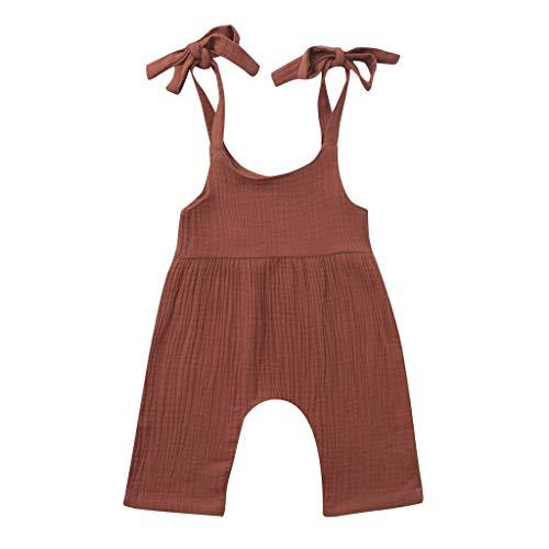 JUTOO Sommer Kleinkind Neugeborenen Kinder Baby Jungen Mädchen Einfarbig Spielanzug Overall Kleidung (Kaffee 2,70)