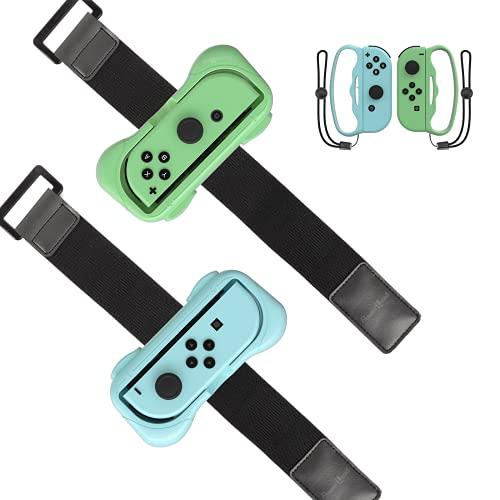 Pulseras para Just Dance 2021 2020 Switch,PowerLead accesorios de Muñequeras de correa de brazo elástico ajustable para Nintendo Switch Dance Game, paquete de 2 (empuñaduras de boxeo para fitness)