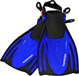 AQUAZON Alicante Verstellbare Flossen, Schnorchelflossen, Taucherflossen, Schwimmflossen für Kinder und Erwachsene zum Schnorcheln, Schwimmen, Farbe:Blue, Größe:32/37