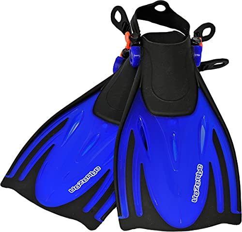 AQUAZON Barracuda Pinne da Bambino, Pinne da Sub Regolabili, Ideali per Lo Snorkeling, Le Immersioni o Come Pinne da Nuoto o Snorkeling, Colour:Blue, Size:27/31