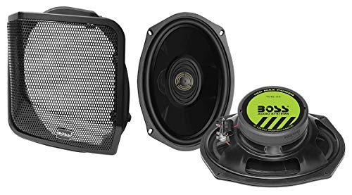 BOSS Audio Systems BHD98 Harley Davidson 6 x 9 Inch Saddlebag Speaker Kit – Fits Select 1998-2013 Road Glide and Street Glide Motorcycles, 300 Watts of Power Per Pair, Full Range, 2 Way, Sold in Pairs