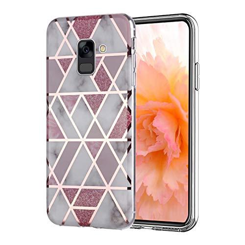 Misstars Hülle für Galaxy A8 2018, Bling Glitzer Geometrischer Marmor Muster TPU Silikon Weiche Schutzhülle Slim Handyhülle Kompatibel mit Samsung Galaxy A8 2018 / A5 2018, Rosa