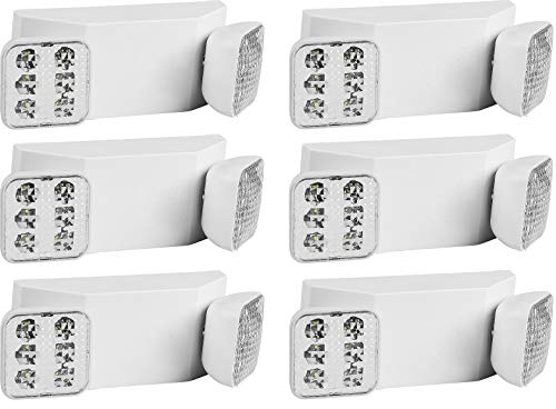 Ciata Lighting Emergency Lights | Ultra-Bright White LED Light with Back-up Battery, Adjustable Lamps & 90-Minute Minimum Capacity - 6 Pack