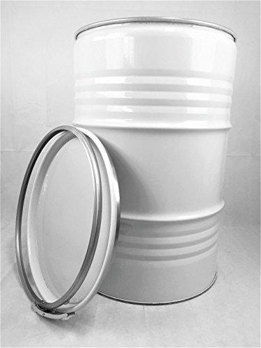 Srm - Design Metallfass 210 Liter Blechfass Fass Ölfass Tonne mit Spannring und Deckel WeißNEU