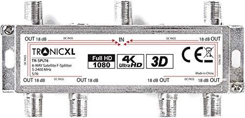 6-antena DIGITAL de TV distribuidor de cable de antena HDTV negro 6X F minidistribuidor para ver la tele full HD switch 6er seisesque Switcher suave ...
