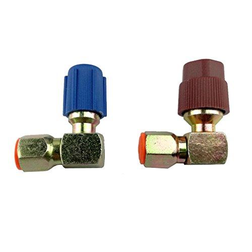 P Prettyia 2PCS a/C Acoplador Lateral Alto + Bajo Adaptador R12 / R134a Conector Rápido de 90 Grados