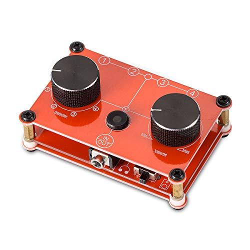4ポート 手動 オーディオスイッチャー 共有 AUX 3.5mm ステレオヘッドホンジャック 4:1 スプリッタ (4 IN 4OUTレッド)