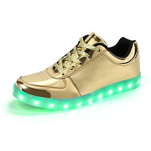 Padgene Damen Herren LED leuchtet Turnschuhe High Top Blinken Trainer USB Ladekabel Spitze bis Paare Schuhe, Gold, 40 EU