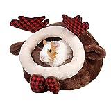 FLAdorepet Warm Chinchilla Hedgehog Guinea Pig Bed Cage Accessories Ferret Rat Rabbit Hideout Snuggle Sack House Hamster Supplies Habitat (S, Elk)