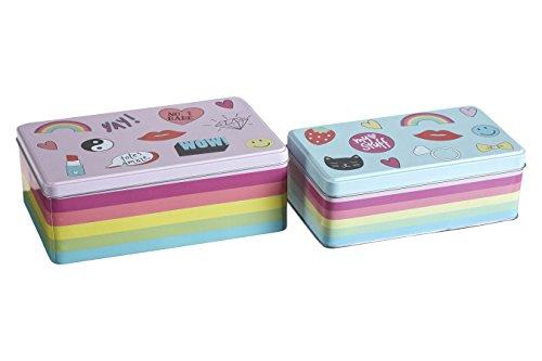 Premier Housewares Fun Times Boîtes de rangement - Petite Boîte Rectangulaire de Stockage - Boîte de conservation -Lot de 2