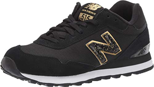 New Balance Women's 515 V1 Sneaker, Black/Gold Metallic, 8 M US
