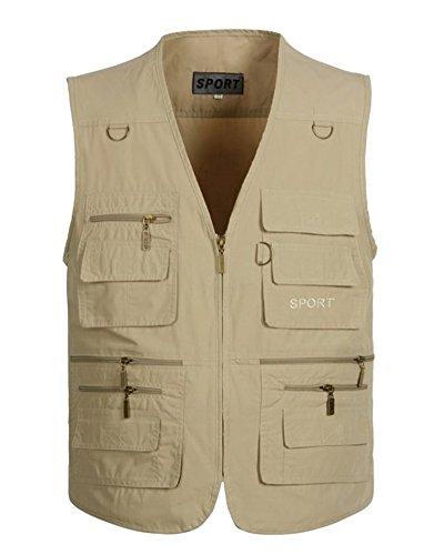 DianShaoA Herren Outdoor Slim Weste Mit Vielen Taschen Atmungsaktiv Angeln Fotografie Weste Ärmellos Jacke Beige XL