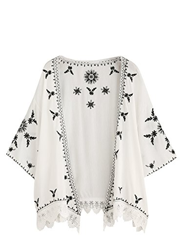 SweatyRocks Women's Floral Lace Crochet Kimono Cardigan Beach Wear Cover up White#7 L