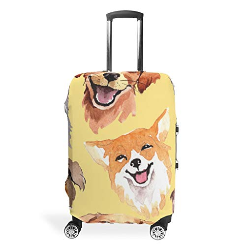 Animal Dog Funny Various Types Travel Suitcase Protector Elasticity 19 to 32 Inch for Carry On Luggage White m(22-24 inch)