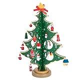 Árbol de Navidad de madera bricolaje dibujos animados navidad ornamento en miniatura regalo mesa escritorio decoración decoración de la Navidad para regalo de niños, decoraciones para el hogar (Verde)