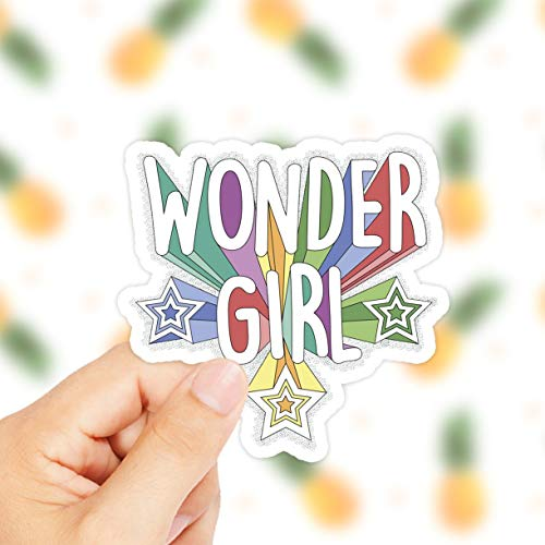 DKISEE Wonder Girl Sticker - Pegatina de niña con energía - Wonder Women - Super Women - Pegatina para ordenador portátil - Calcomanía para iPhone - Super Girl - Tumbr 6'