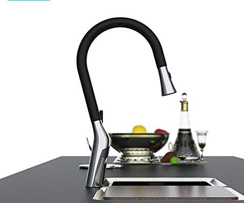 Grifo de cocina para fregadero con alcachofa extraíble, giratorio 360°, de acero inoxidable