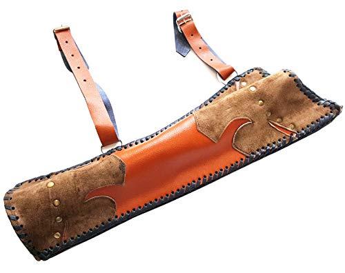 Starlingukpk - Carcaj con arco tradicional de piel auténtica y ante Carcaj lateral. Tiro con arco Soporte para flechas.