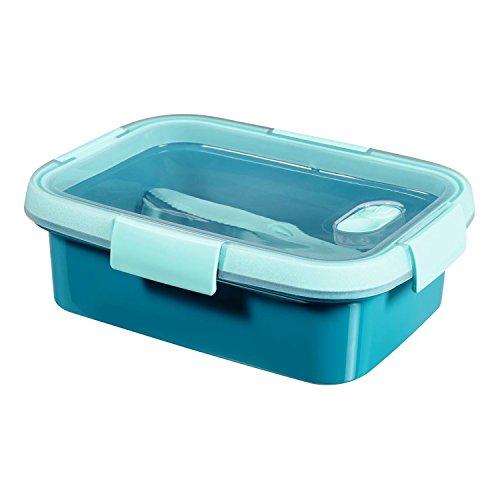Curver To Go Lunchbox + Besteck & Zubehör BPA free (Blau, Rechteck - 1L)