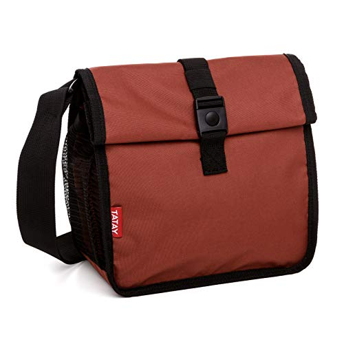 TATAY Urban Food Roll & Go Bolsa Porta Alimentos Isotérmica Enrollable, Tela, Teja, No incluye tapers, 6x22x28 cm