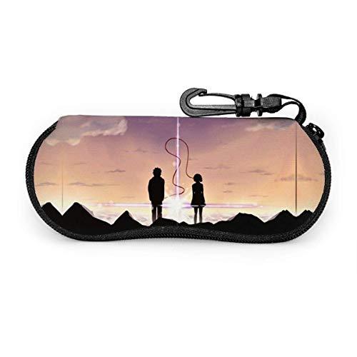 YZXC Kiminonawa Bedruckte Brille Softcase ultraleichte Neopren-Reißverschluss-Brillenetui mit Clip