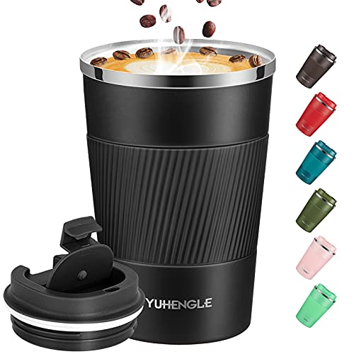 YUHENGLE Thermobecher- Isolierbecher, Edelstahl Travel Mug, Vakuum auslaufsicher Reisebecher mit Deckel, Autobecher, doppelwandig isoliert für Kaffee, Wasser und Tee, Kaffee-to-go Becher 13oz/380ml