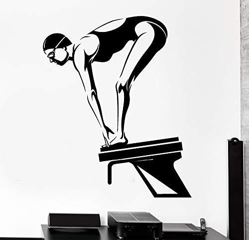 Aicedu muursticker, voor sport, zwemmen, dames, zwemmen, platform, 57 x 69 cm