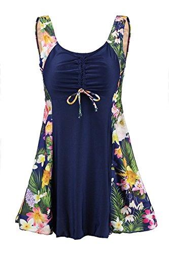 Ecupper  Damen Einteiler Badeanzug Gepolstert Bauchweg Badekleid mit Shorts Blumen Muster, EU 44 / Tag M, Navy-blumen