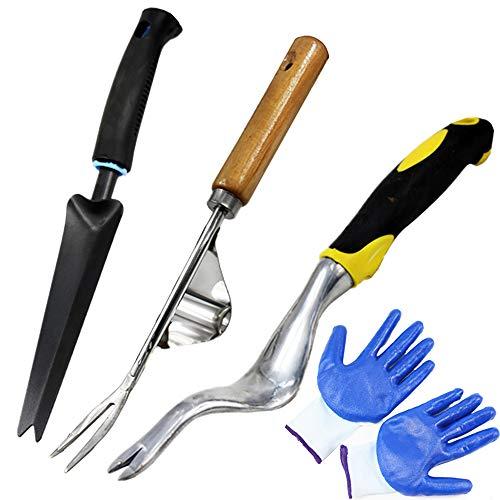 MNNE Manuelles Jäten Werkzeug-Set Ergonomische Garten Jäten Werkzeug 3 Stück Garten Rasen Ackerland Topfen Gartenarbeit Bonsai Handbuch Jäten Werkzeug