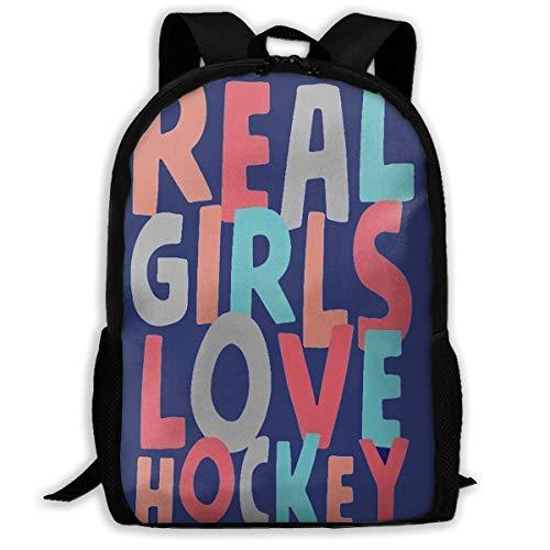 NA Rucksack Real Girls Love Hockey Reißverschluss Schule Büchertasche Daypack Reiserucksack Gym Bag für Männer und Frauen