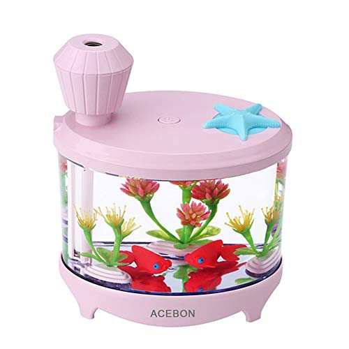 ACEBON Portable Mini Humidifier, 460ml Cool Mist Small Humidifier, USB Quiet Operation Desktop Humidifiers for Baby Bedroom Travel Office Home, 2 Mist Modes and Auto Shut-Off (Pink)