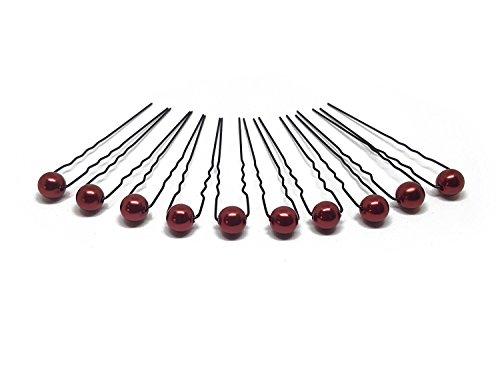 10 x Perlen Haarnadeln - Brauthaarschmuck, Haarschmuck, Perlenhaarnadel | 10PS - Bordeaux Rot
