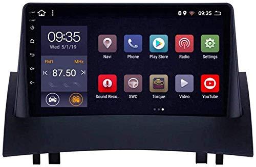 Compatible para Renault Megane 2 2004-2008 Sat Nav Android 9.0 Unidad De Cabeza FM Radio Receptor Auto Audio Player MP5 Coche Estéreo 9 Pulgadas Pantalla Táctil Navegación GPS,4 Core WiFi 1+16GB