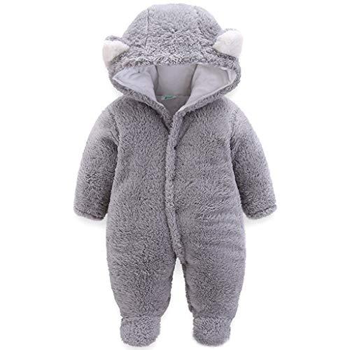 JiAmy JiAmy Baby Winter Fleece Overall Mit Kapuze Mädchen Jungen Schneeanzüge Warm Strampler Outfits Grau 6-9 Monate