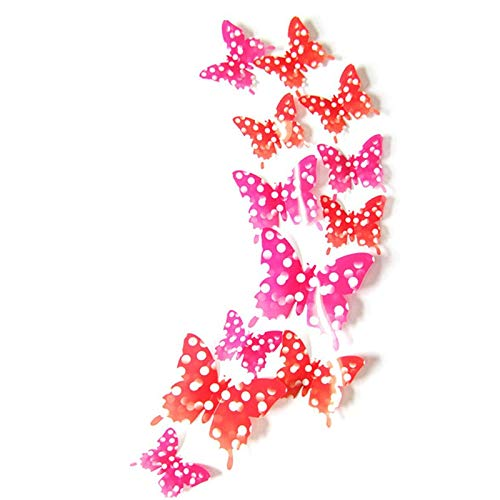 Logicstring 12 Piezas De Mariposas Creativas con Etiqueta De Pared Estéreo 3D Extraíble H-015 Mariposas con Etiqueta De Pared Estéreo 3D