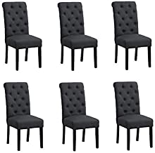 Padding Dining Chair,BELIFEGLORY Set of 6 Wooden Leg High Back Dining ChairUpholstered Fabric Dining Room Chairs Kitchen Chairs