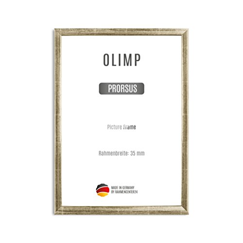 Olimp PRORSUS 35mm Bilderrahmen im DIN A0 Format für 84,1 x 118,9 cm Bilder, Farbe: Silver Leaf, Handgemachter MDF Rahmen mit bruchfester Anti-Reflex Kunstglasscheibe