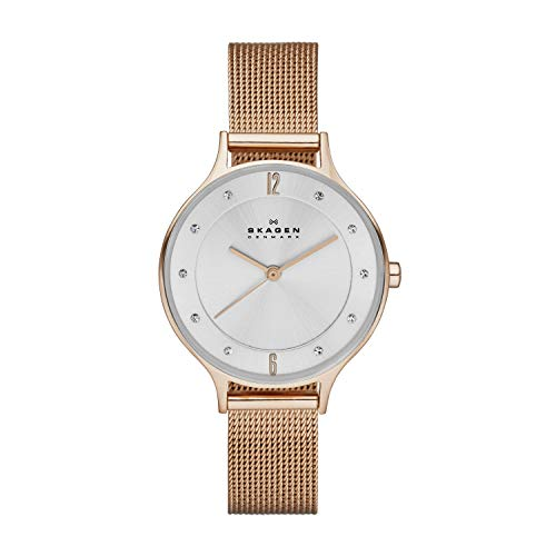 Skagen Women's Anita Quartz Analog Stainless Steel and Mesh Watch, Color: Rose Gold (Model: SKW2151)