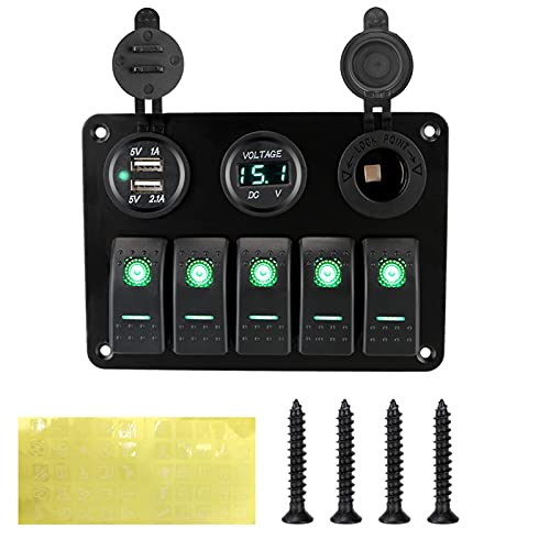 Haoshan 5 pandillas LED Rocker Interruptor panel 12 / 24V Outlet Combinación Voltaje digital Doble USB DUAL USB Socket para vehículos de vehículos de automóviles marinos Camión ( Color : Green )