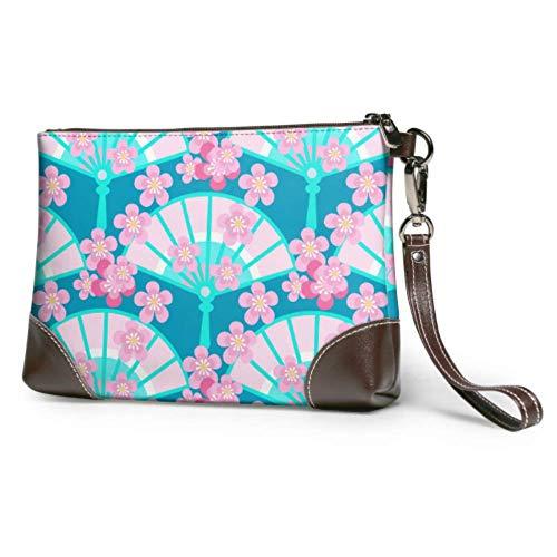 XHYYY Bolso de mano con abanico Floración Ciruela Sakura Diseño Cartera de...