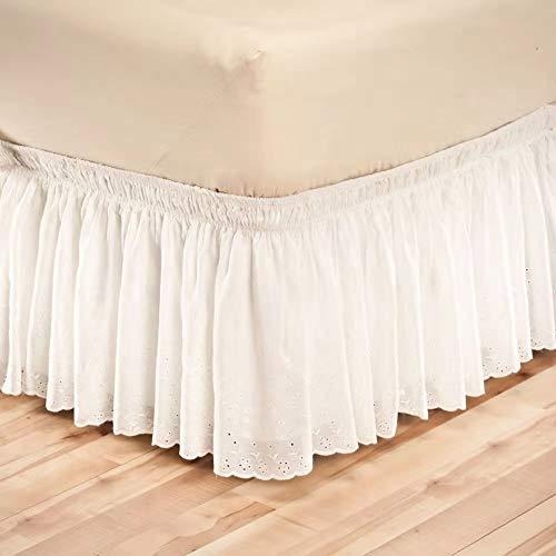 Bettrock 160x200/180 x 200/90x200/140x200/200x200/100x200 Bettrock mit Rüschen Wrap Around Style Elastische Bett Wrap Ruffle Bett Rock Bettröcke Bettvolant (Color : B, Size : 100CMX200CM+37CM)