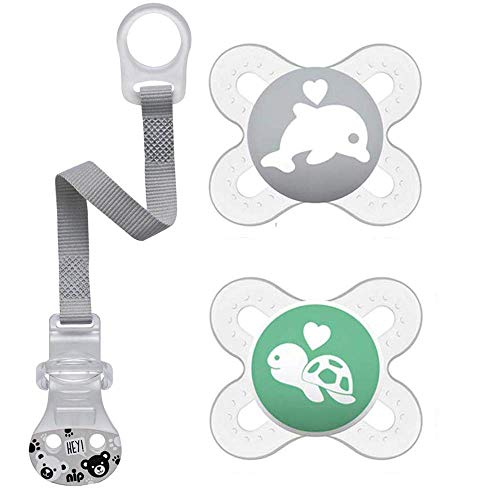 MAM Skin Soft Silikon Schnuller Start speziell für Früh- und Neugeborene extra klein // 0-2 Mo. Neutral // 2er Set // inkl. Sterilisiertrasportboxe & NIP Schnullerband